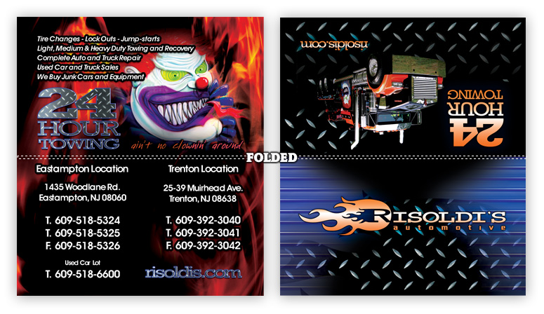 Impactstudiosz custom website design services new jersey risoldis towing folded business cards reheart Image collections
